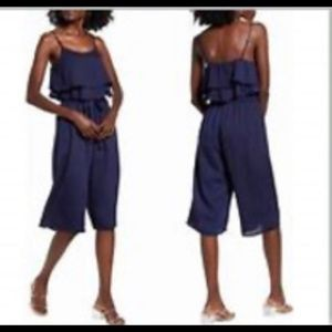 One Clothing Navy Blue Wide Leg Jumpsuit